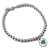 TIFFANY Return To Tiffany 925純銀刻字圓牌鑲藍瓷愛心墜飾珠珠手鍊