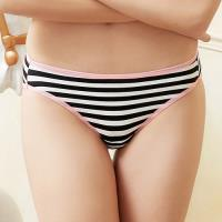 【EASY SHOP】條紋派對 低腰三角褲(黑白條紋)