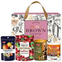 紅布朗 嚴選玫瑰金緻禮盒(3色葡萄乾+蔓越莓乾+頂級生機果仁+輕烘焙聰明堅果)
