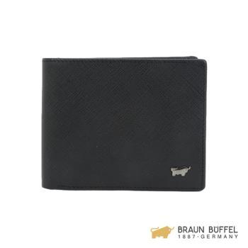 BRAUN BUFFEL  洛非諾III系列12卡中翻皮夾 -經典黑 BF314-317-BK