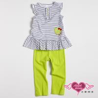天使霓裳-童裝 微笑條紋 兒童短袖長褲兩件組套裝(白) GSH13013