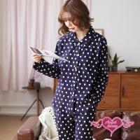 天使霓裳 雪靜冬夜 圓點棉質二件式長袖孕婦哺乳套裝月子服(深藍F) HG685