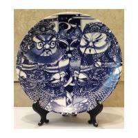 青花皇后楊莉莉-7吋瓷盤畫~青花門神