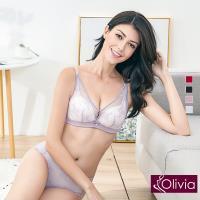 Olivia 無鋼圈美姬蕾絲薄紗內衣+小褲(紫色)