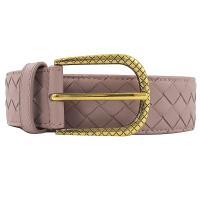 BOTTEGA VENETA 474372 經典編織皮革寬版皮帶.粉紫