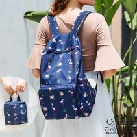 DF Queenin日韓 - 韓版簡約時尚百搭可折疊雙肩後背包-共3色