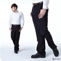 【NST Jeans】簡約細緻直紋羊毛 男 斜口袋無打摺西裝褲 (中腰) 380(5690)