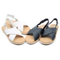 【cher美鞋】 MIT素雅交叉舒適彈性鞋底平底涼鞋-黑色/白色-0800231833-18