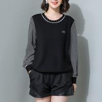 麗質達人 - 19103黑色格紋拼接假二件上衣