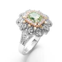 【絕世精品】雅紅珠寶 GIA-2.10CT-Fancy Greenish Yellow-VS2-黃綠彩鑽戒指-兩用
