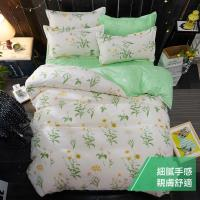 eyah 宜雅 台灣製時尚品味100%超細雲絲絨雙人床包枕套3件組-青青草園