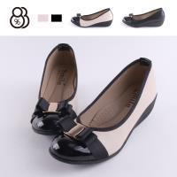 【88%】包鞋-MIT台灣製 跟高5CM 皮質拼接亮皮金屬緞帶蝴蝶結 楔型鞋 包鞋 娃娃鞋