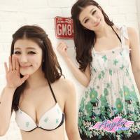 天使霓裳 泳衣 仙境花海 三件式鋼圈比基尼泳裝(綠M~XL) YP11023