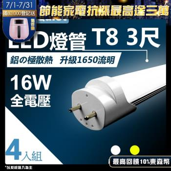 《Kiss Quiet》 T8 3尺/3呎(白光/黄光)15W LED燈管-4入