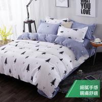 eyah 宜雅 台灣製時尚品味100%超細雲絲絨雙人兩用被床包四件組-雪國森林