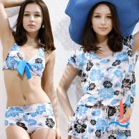 SANQI三奇 水漾夏日的鮮花.三件式比基尼鋼圈泳衣(淺藍M~XL) SQ13071