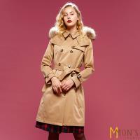 MONS歐洲精品專櫃頂級皮草大衣/風衣-卡其