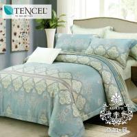 AGAPE亞加‧貝 獨家私花-河畔情緣 天絲 標準雙人5尺八件式鋪棉兩用被床罩組