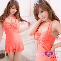 天使霓裳 花漾空間 連身式泳裝 泳衣(粉桔M~XL) SQ3022