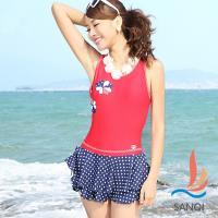 SANQI三奇 俏麗拼花 一件式連身泳衣(紅藍M~XL) SQ88075