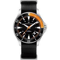 Hamilton 漢米爾頓 KHAKI NAVY 卡其海軍潛水機械錶-黑x橘/40mm H82305931