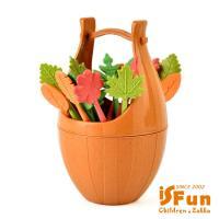 iSFun 野餐木桶 麥纖維甜點水果叉子 隨機色