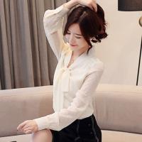 【白色戀人】氣質V領綁帶雪紡衫S-2XL(共二色)