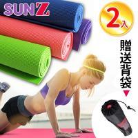 SUNZ-日系繽紛環保PVC雙面止滑瑜珈墊-超值2入組(贈網狀舒適揹袋2入)
