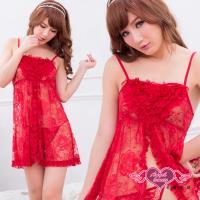 天使霓裳 性感睡衣 玫瑰魅惑 蕾絲網紗連身睡衣(棗紅F) AD425