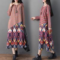 【REKO】民族風條紋撞色印花洋裝M-2XL(共兩色)