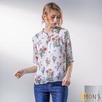 MONS歐系精品優雅雪紡印花長版上衣