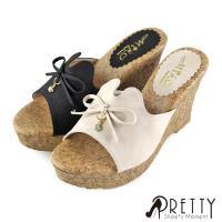 Pretty 蝴蝶結水鑽綴飾仿木質紋楔形拖鞋BA-2C135