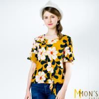 MONS歐版貴婦綁帶造型印花上衣