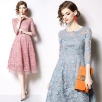 【M2M】雅麗清新粉嫩蕾絲緹花洋裝S-3XL(共二色)