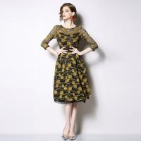 【M2M】優雅美麗黑黃相間蕾絲緹花洋裝S-3XL