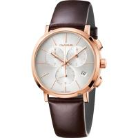 Calvin Klein CK Posh 計時手錶-銀x玫瑰金框/42mm K8Q376G6