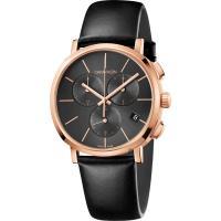 Calvin Klein CK Posh 計時手錶-玫瑰金框x黑/42mm K8Q376C3