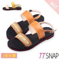 TTSNAP涼鞋-MIT夏日限定織帶平底鞋 咖/黃