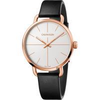 Calvin Klein CK Even 超然系列十字線手錶-銀x玫瑰金框/42mm K7B216C6