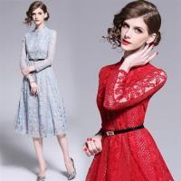 【M2M】優雅時尚小立領蕾絲排釦洋裝M-2XL(共二色)