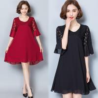 韓國KW 飄逸裙襬完全特色肩拼洋裝