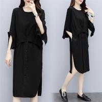 【KVOLL】未來感設計黑色顯瘦洋裝XL-5XL