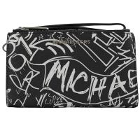 MICHAEL KORS GRAFITTI 塗鴉印花手提式雙拉鍊長夾.黑白