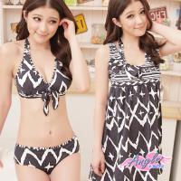 天使霓裳 迷魅凝聚 三件式比基尼泳裝 泳衣(黑M~XL) SQ13099