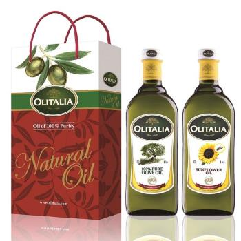 Olitalia奧利塔-綜合油品禮盒1盒(橄欖油+葵花油/盒;1000ML/瓶);加贈葵花油1000MLX1