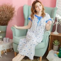 lingling日系 小碎花蕾絲牛奶絲連身裙睡衣(全尺碼)