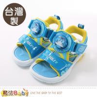魔法Baby 男童涼鞋 台灣製POLI正版波力款閃燈運動鞋 魔法Baby~sa91126