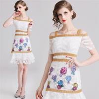 【M2M】可愛俏麗魚尾裙擺一字領吊帶洋裝M-2XL