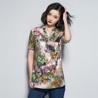 【REKO】韓版時尚花朵印花棉麻上衣M-4XL(共兩色)