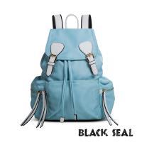 BLACK SEAL 休閒雙扣細尼龍軍旅後背包-湖藍 BS83111